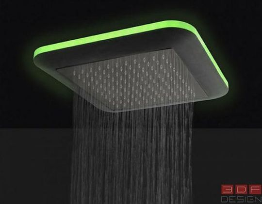 For example blue calms the nervous system  green gives emotional  tranquility and white revitalizes the whole body  The shower heads features tropical  rain  LED Light Shower Heads From Danilo Fedeli. Tropical Rain Shower Head. Home Design Ideas