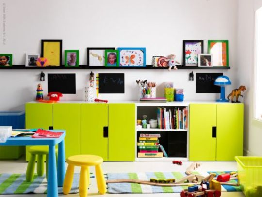 Kid 39 s room storage unit stuva from ikea for Shelving for kids room