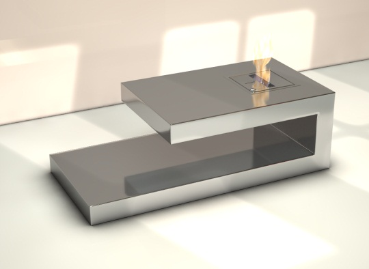 silver coffee table with fire place