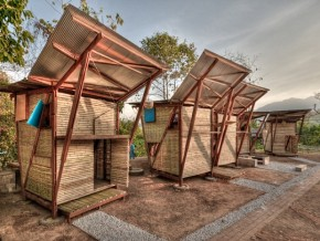 Wood Prefab Houses In Thailand With Butterfly Roof By TYIN Tegnestue