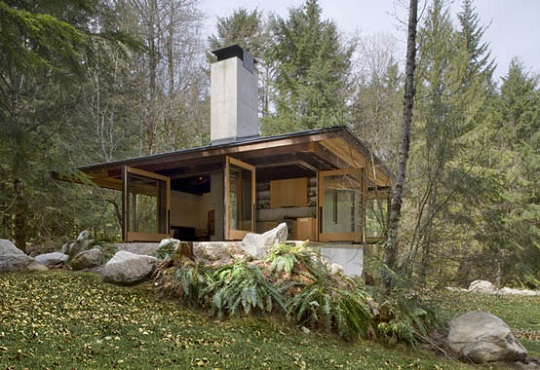 Compact river cabin in washington by olson kundig architects for Small house plans washington state