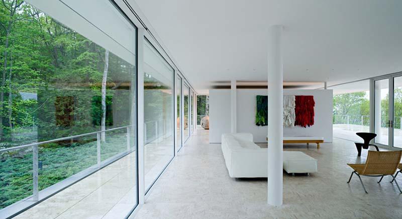 Olnick Spanu House living room with white sofa