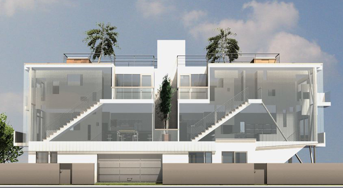Glass Townhouse front look drawing