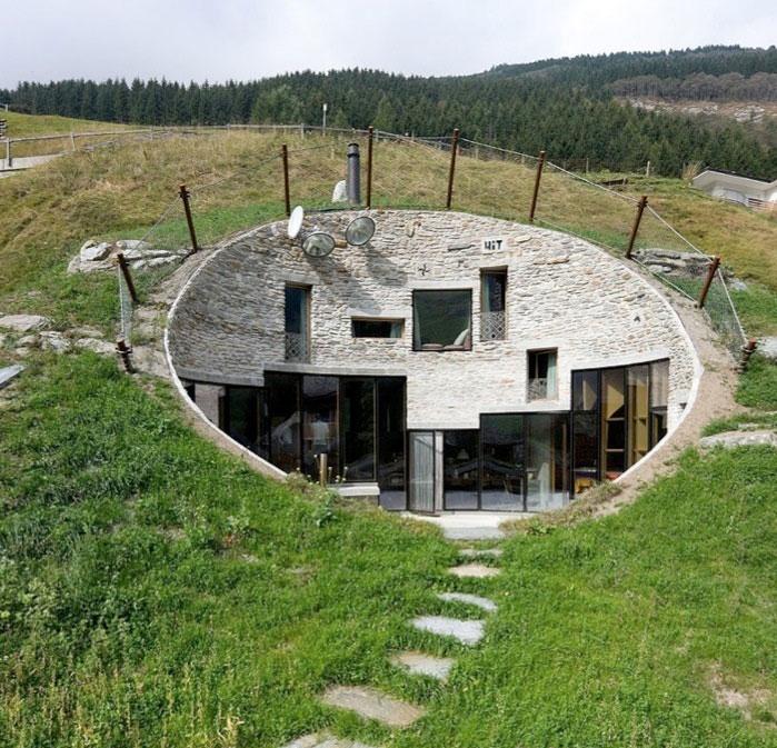 House Inside A Hill Villa Vals