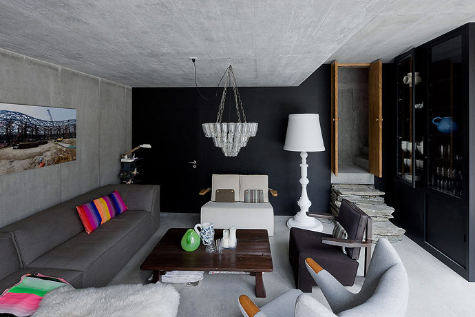 Villa Vals House inside a hill living room