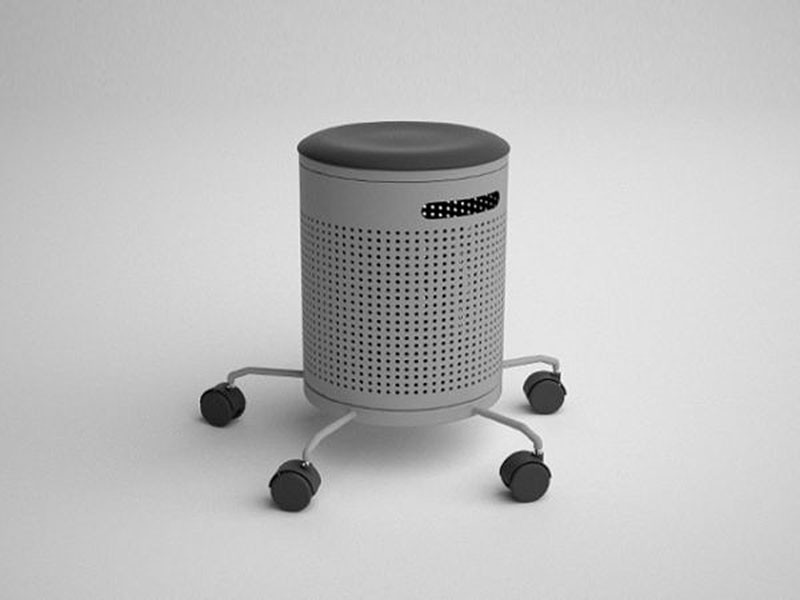 Integrated office stool and dustbin 1