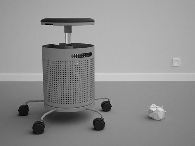 Integrated office stool and dustbin 2
