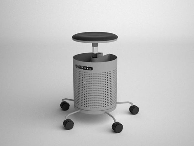 Integrated office stool and dustbin 3