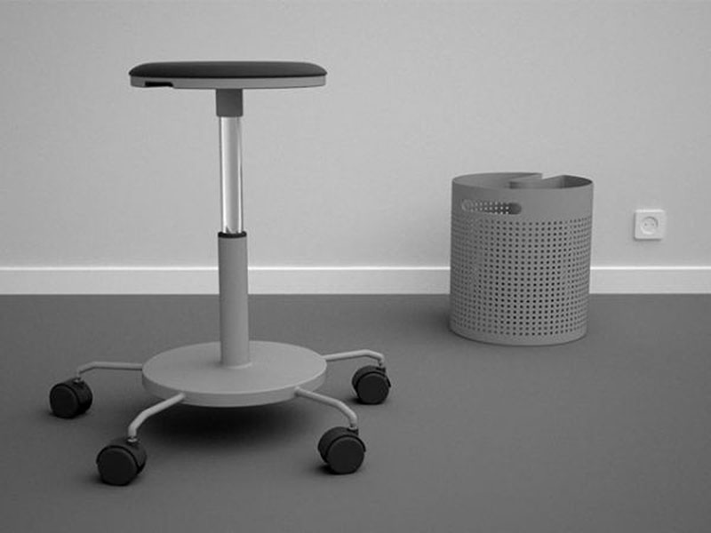 Integrated office stool and dustbin 4