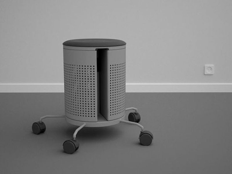 Integrated office stool and dustbin 5
