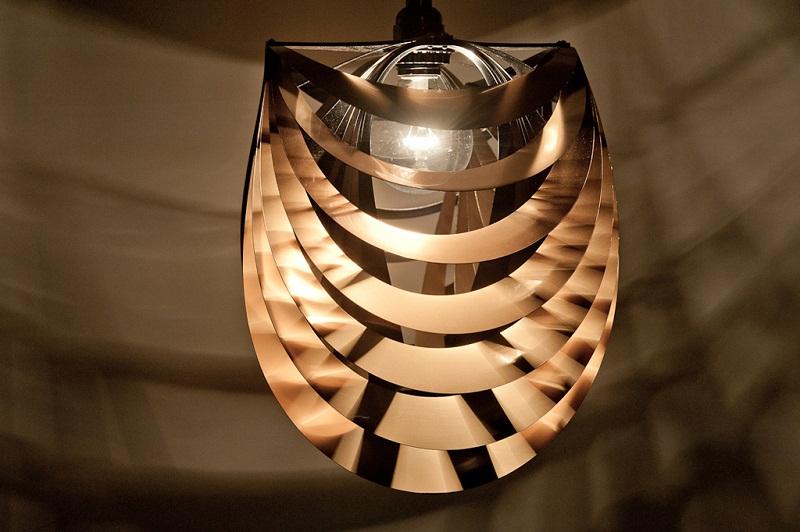 Kinema Pendant Luminaire Gold color By Stuart Fingerhut 1