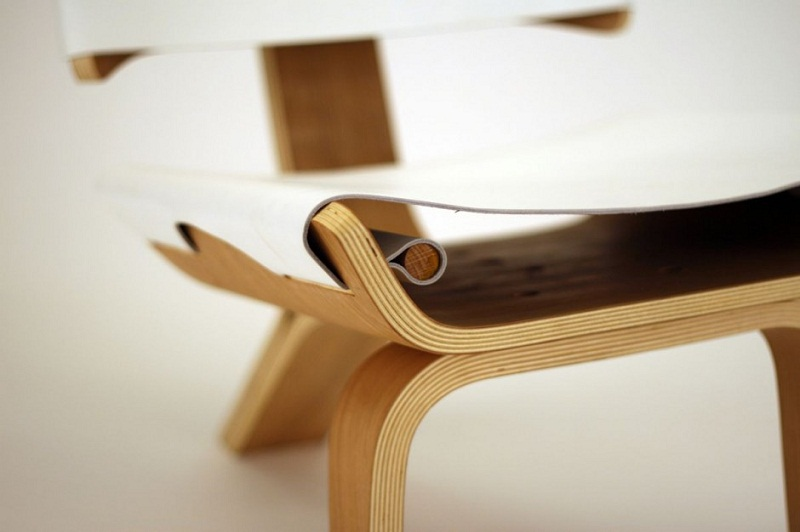 Kurven Chair made of Bent Plywood and Leather by Cody Stonerock 5