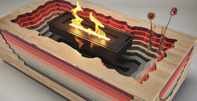 Terragen Coffee Table with built-in Fireplace 2