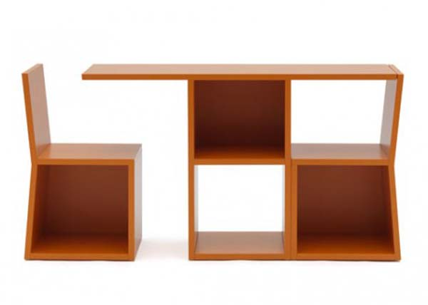 Trick Bookcase transforms to Table and chair by Sakura Adachi
