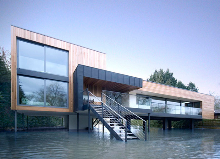 Hind House in Flooded Water from River Loddon
