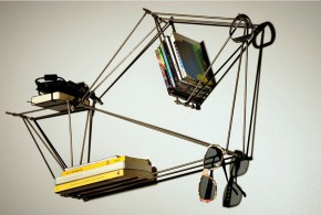 Simple and Minimalist Wire-Frame Bookshelf Design