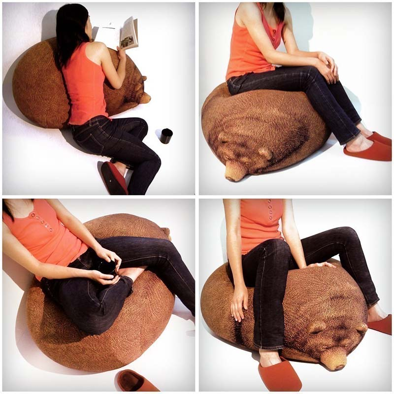Sleeping Grizzly Bear Bean Bag 4