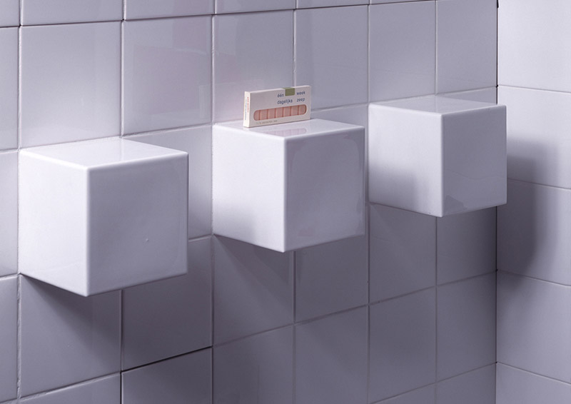 Functional Tile with cube shelves by DTILE