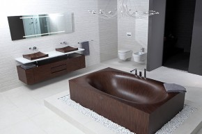 Elegant Wooden Bathtub Laguna by Alegna