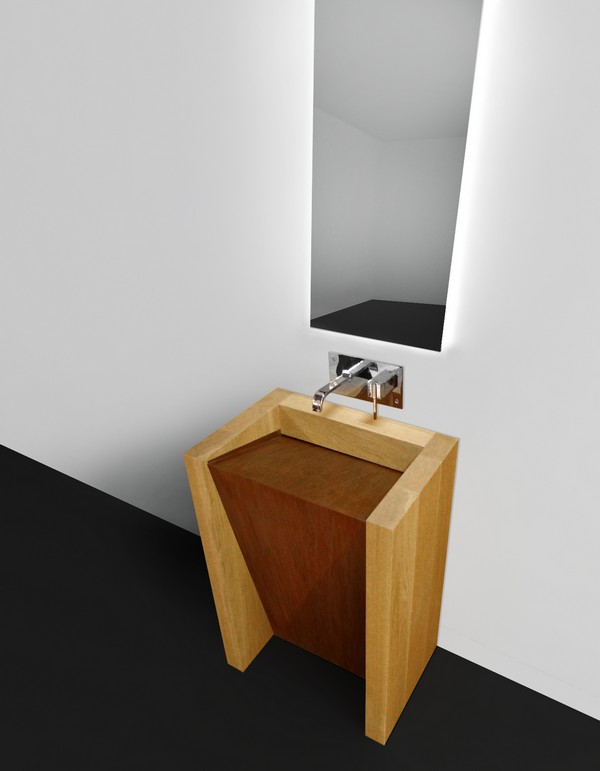 Solid Wood Bathroom Sink Corten 1