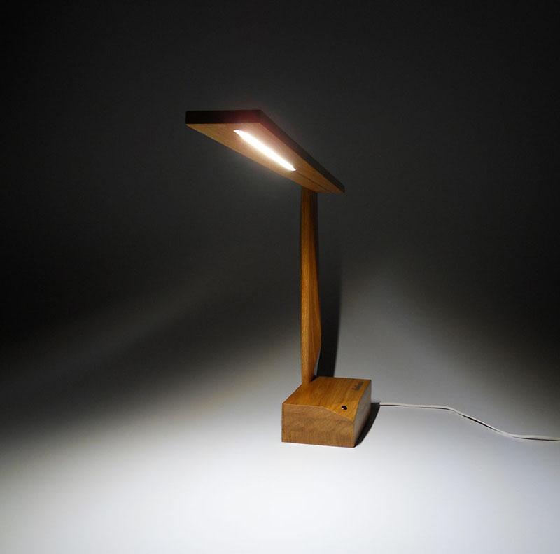 Oak Wood Table Lamp Ardea by Amitrani 2