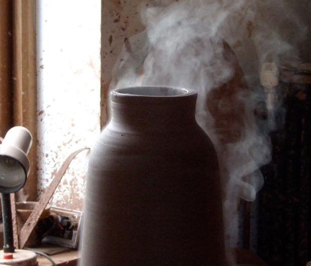 Chimney Clay Pendant Lamp by Benjamin Hubert 10