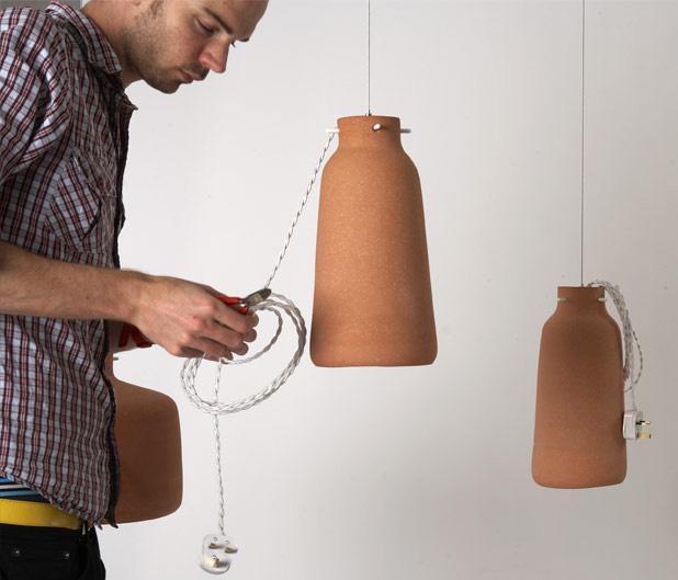 Chimney Clay Pendant Lamp by Benjamin Hubert 5