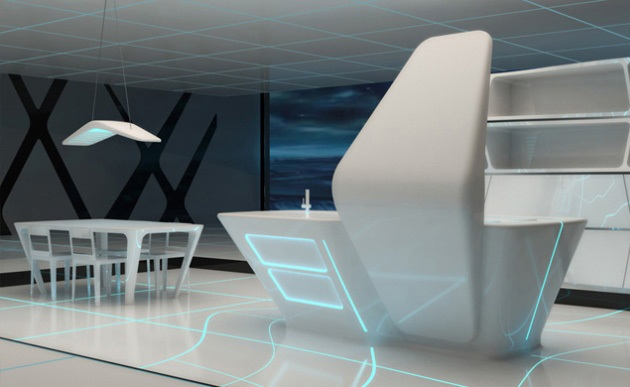 Kitchen and Dining area for TRON designs Corian 2