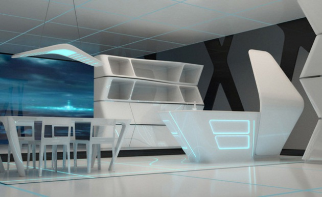 Kitchen and Dining area for TRON designs Corian 5