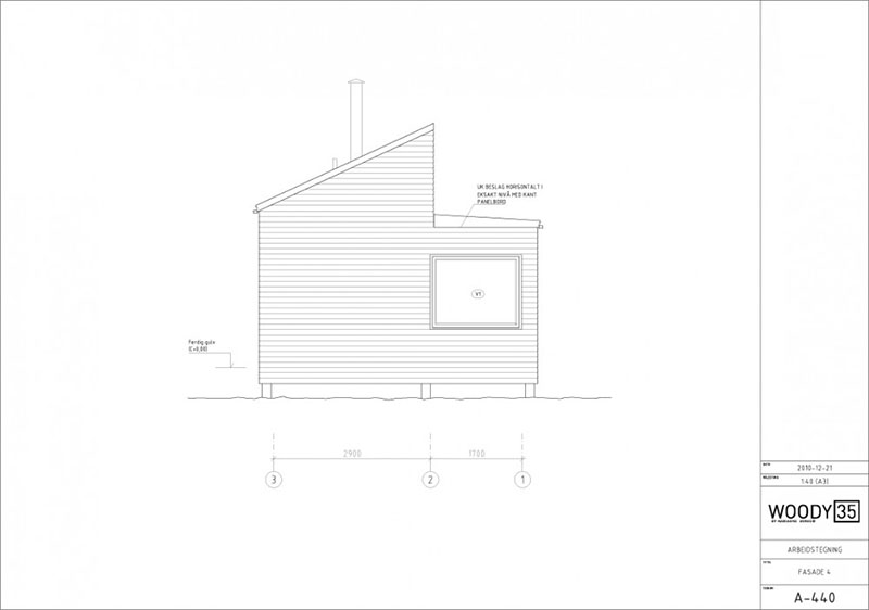 Sketch of Solid Wood Cabin Woody 35