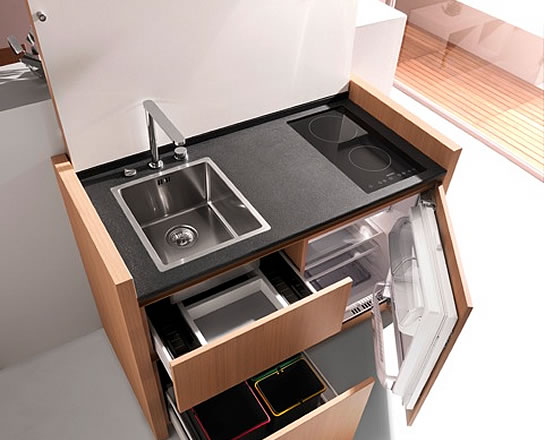 compact hyper equipped kitchen k1 by kitchoo. Black Bedroom Furniture Sets. Home Design Ideas
