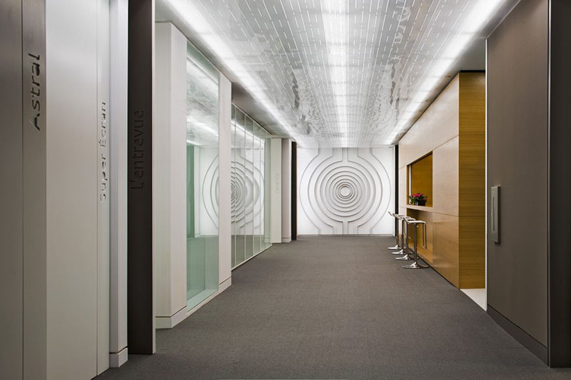 New office interior for astral media by lemay associ s for Office hallway design