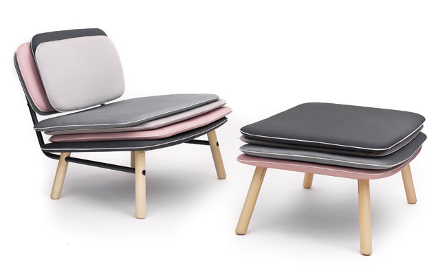 Stack Easy Chair and Footstool by Skrivo Design