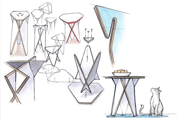 Wedge Coffee Table Sketches by Andreas Kowalewski