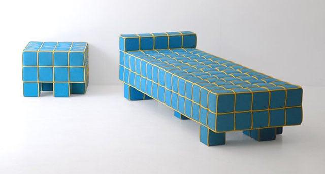 Grid Sofa and Stool by Kim HyunJoo