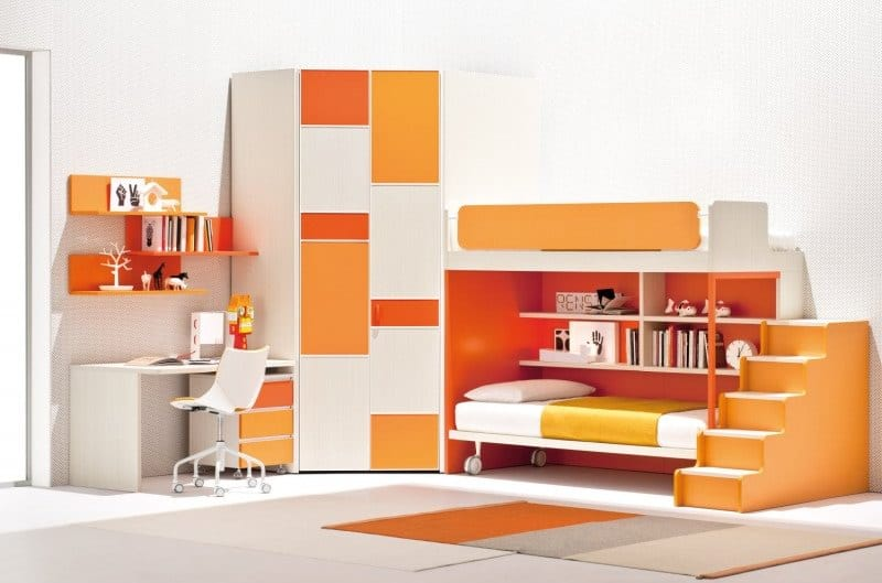 Orange and White Children Loft Bedroom Set with Wardrobe