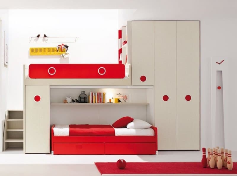 Red Children Loft Bedroom with Wardrobe and Ladder