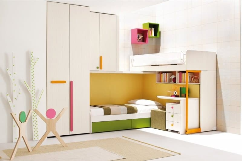 White Children Loft Bedroom with Wardrobe and Ladder