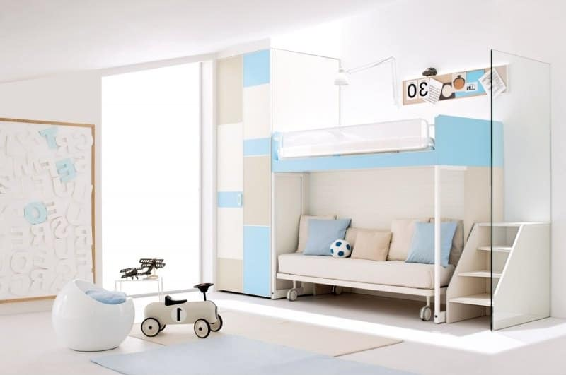 Blue and White Children Bunk Bed with Wardrobe and Ladder