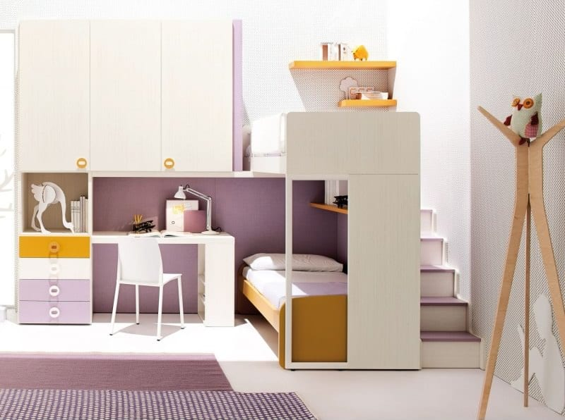 Children Loft Bedroom with Wardrobe and Ladder