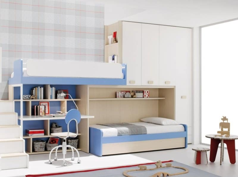 Kids Bunk Bed with Wardrobe and Ladder