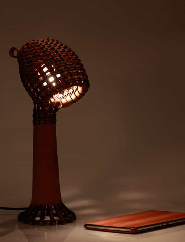 Ákob Leather Lamp by Tjiang Supertini