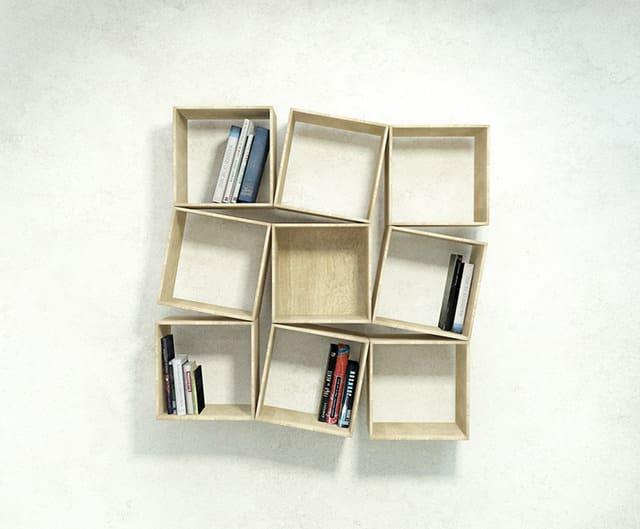 squaring wallmounted bookshelf by sehoon lee - Wall Mounted Bookshelf. Classic Cream Wooden U Shaped Wall Mounted