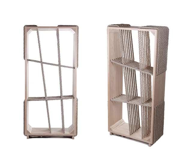 Cross-Ropes Bookshelf by Tamas Bozsik & Kata Mónus