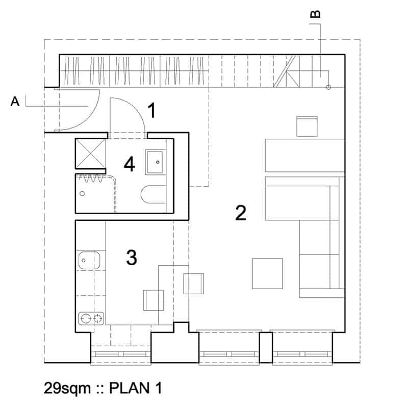 29sqm by 3XA - A Tiny Living Space Inside A 19th-Century Building