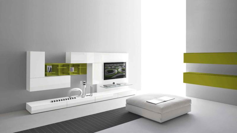 White And Green Living Room Design Modern