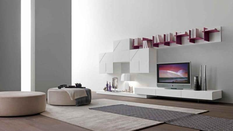 White Modern Living Room Design with Purple Bookcase