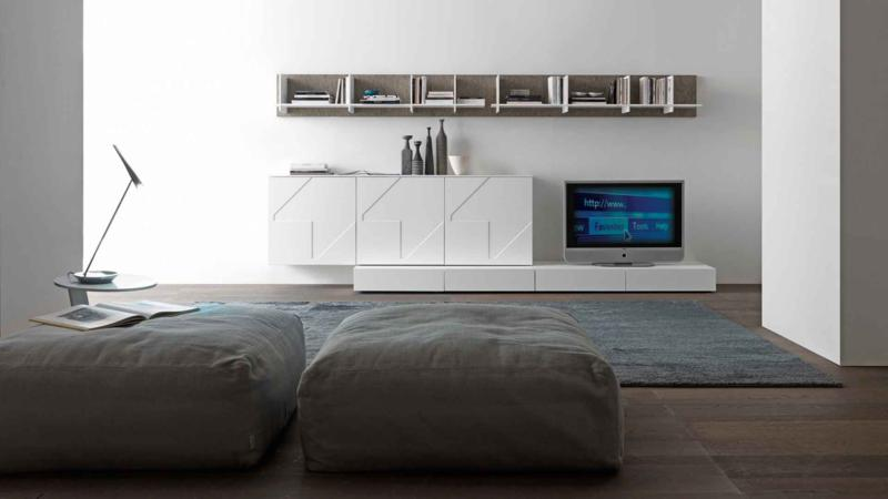 White Minimal Living Room Furniture with Top Bookshelf
