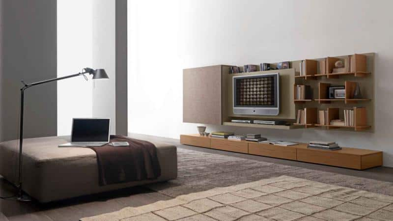 Modular Living Room With Mini Library Modern Design