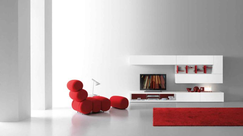 Modern White Red Color Living Room Furniture Design
